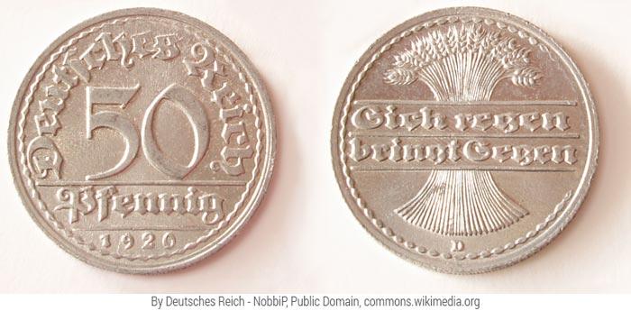 Moneda alemana de 1920 forjada en aluminio